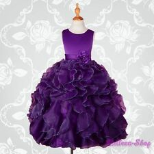 Dark Purple Satin Organza Dress Wedding Flower Girl Pageant Party Size 10 FG234