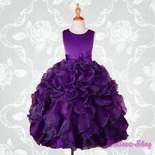 Dark Purple Satin Organza Dress Wedding Flower Girl Pageant Party Size 10 FG234