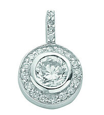 Cluster Pendant Solid Silver Necklace Sterling Silver Rhodium Plated Pendant