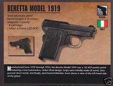 BERETTA MODEL 1919 PISTOL 6.35mm Italy Atlas Classic Firearms Gun PHOTO CARD