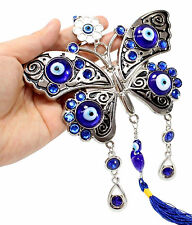 """Large Blue Evil Eye 5"""" Lucky Butterfly Amulet Protection Wall Hanging Home Decor"""