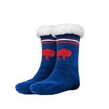 Buffalo Bills RETRO Women's Stripe Logo Tall Footy Slippers - Size 6-10 Non Skid
