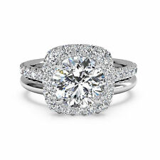 Round Halo 1.30 Ct Diamond Engagement Ring Real 14K White Gold Size 7 6.5 5.5 8