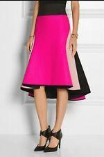 Milly Asymmetric melton wool-blend and satin skirt Rt $695.00