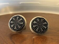 VINTAGE BLACK CARVED Rotary Engine Look Silver Tone Cuff Links