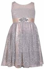 Bonnie Jean Sleeveless White Silver Illusion Bodice Dress with Sparkle Accents