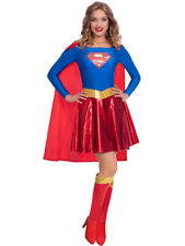 Licensed Adults Supergirl Fancy Dress Classic Costume Ladies Womens UK 8-18