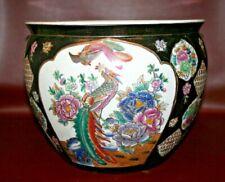 Vintage Style Chinese Porcelain Black Enamel Jardiniere Planter w/ Peacock & Koi