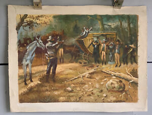 Vintage Oil Western Hold Up Cowboy Painting Signed Black CM Russell Inspired