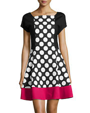 LOVE MOSCHINO COLOUR BLOCK POLKA DOT DRESS SIZE UK 14 RETAIL £255 BNWT
