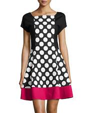 LOVE MOSCHINO COLOUR BLOCK POLKA DOT DRESS SIZE UK 14 RETAIL £255 BNWT