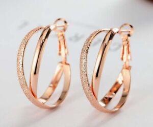18K White Gold GF Crosse Polish Round Hoop Huggie Earrings Rhinestone CRYSTAL
