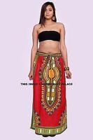Femme Dashiki Boho Long Maxi Robe Femmes Ankara Africain Jupe Plissée Coton