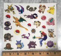 Vintage 90's POKEMON NINTENDO DIECUT VINYL DECAL STICKERS - Set of 24 Creatures