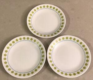 """CORELLE SOUTH BEACH DESSERT/BREAD PLATE 6.75""""green dots. Set of 3"""
