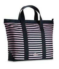 Lacoste Women Shopper Handbag Anthracite/Pink Nylon Striped Lightweight