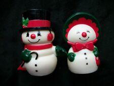 Snowman Salt Pepper Vintage Plastic Hallmark Christmas Mr Mrs