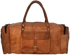 "24""Men's genuine Brown Leather large vintage duffle travel gym Carry on Bags"