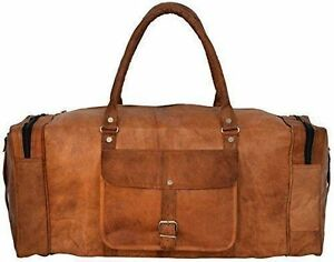 """24""""Men's genuine Brown Leather large vintage duffle travel gym Carry on Bags"""