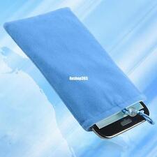 blue soft velvet pocket pouch bag case for mobie phone iphone htc mp3 mp4 gps