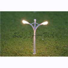 10pcs N Gauge 1:150 Scale Model Street Light Lamppost Layout Dual Heads Lamp