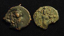 2 Æ Byzantine Folles Emperor Constans Ii Rv Large M 5.38 gr & 3.18 gr Ad 641-68