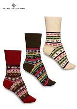 Damensocken Norwegermuster Trendfarben 6 Paar Wintersocken Wärmend stylenmore