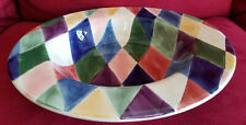 New, very large serving bowl, Tabletops Unlimited, Harlequin pattern