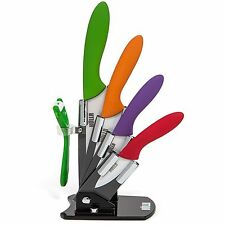 HULLR Ceramic Blade Multi Color Kitchen Knife Set With Acrylic Stand - 6 Piec...