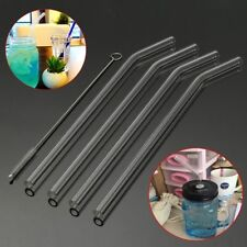 4Pcs Reusable Straight Bent Glass Tube Drinking Straw Sucker With Cleaning Brush
