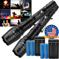 350000LM T6 LED High Power Torch Rechargeable Flashlight Lamps Light & Charger√
