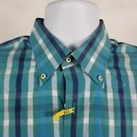 Peter Millar Mens Teal Blue Plaid Check Dress Button Shirt Sz Medium M