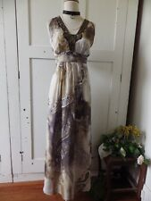 LOVELY JACQUI E PURE SILK AND BEADED SEQUIN PAISLEY MAXI EVENING DRESS 12
