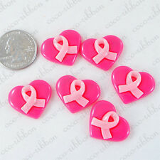 12 Pieces 25mm Pink Heart Breast Cancer Awareness Flatback Resin Cabochon