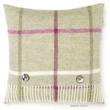 BRONTE Windowpane Fern CUSHION Pure New Shetland Wool Green Feather Filled