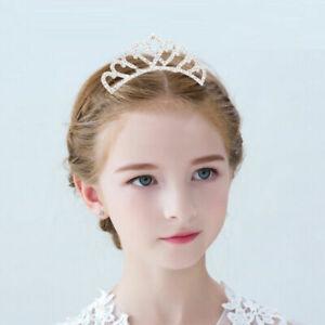 Baby Kids Girls Tiara Hair Accessories Crystal Crown W/ Comb Princess Birthday