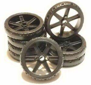 "8 K'NEX Motorcycle Slick Wheels & Tires Rare 2.25"" Black Spoked Hub Rim KNEX"