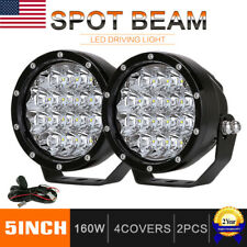 Pair 5inch 160W CREE LED Driving Lights Spot Round Spotlights Black Offroad 4x4