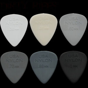 10 x Dunlop Nylon Standard Guitar Picks Plectrums - Your Choice Of Size / Type
