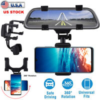 Universal Car Rear View Mirror Mount Stand GPS Cell Phone 360 Rotation Holder US