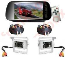 """Set marcha atrás CAMPER coche: 2 cámaras monitor Espejo 7"""" con control remoto"""