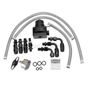ELUTO Universal Adjustable Fuel Pressure Regulator Kit W/0-100Psi Gauge AN6