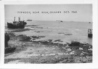 1945 WWII USA  Okinawa  Photo #1 Oct Typhoon, ships in NaHa Harbor
