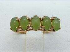 14k Yellow Gold 5 Oval Green JADE-JADEITE Band Ring 2.2g  Ring SIZE 6.5