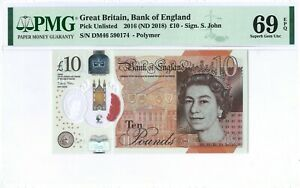 Great Britain 10 Pounds P395 2016 PMG 69 EPQ s/n DM46 590174 Polymer