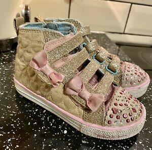 Sketchers Twinkle Toes Flashing Lights Bow Trainers Shoes Size 8 Infant