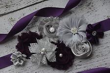 Flower Sash, plum silver grey sash , flower Belt, maternity sash