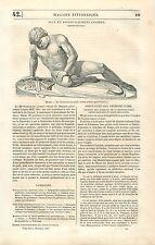 Statue Grecque le Gladiateur Mourant Ctésilaüs / Pompéi GRAVURE OLD PRINT 1835
