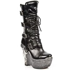 NEWROCK New Rock PZ003-S4 Black Gothic Ladies Leather Lace Up Wedge Heel Boots