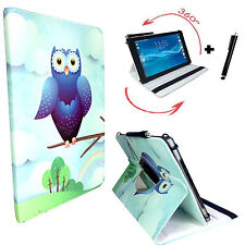 "Hülle Tasche für Fujitsu Stylistic Q550 Tablet Cover Etui 360° Eule Blau 10.1"""
